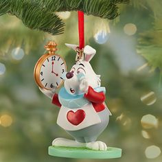 """The White Rabbit is always so worried about being late...but we know he won't be late for the holidays! WHITE RABBIT SKETCHBOOK ORNAMENT (2013) (from Walt Disney's """"Alice in Wonderland"""")"""