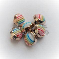 Kolorowe guziczki na stopce - 6szt (komplet) TĘCZOWE