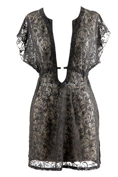 Black Sheer Lace Pull Over O-Ring Beach Cover-Up