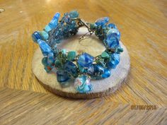 Bracelet Wire Weave Lampwork Beads and Turquoise with Toggle Clasp One of a Kind Original by TinkersAttic on Etsy