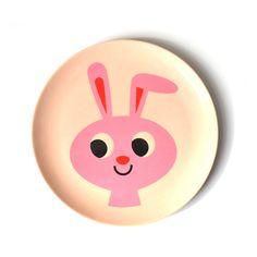 Ingela Arrhenius Melamine Rabbit Plate- perfect for brightening up mealtimes, Omm Designs melamine rabbit plate is sure to delight little people and adults alike. Animal Plates, Illustrator, Baby Dishes, Blog Deco, Retro Design, Design Design, Modern Design, Gifts For Kids, Print Patterns