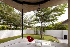 Patio Interior Design Among Green Courtyard Landscaping Ideas Opened Porch Showing Bright Also Fresh Airy Ambiance