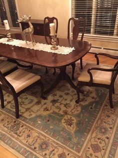 Harden Chippendale Dining Room Table 6 Chairs Extra Leaf To Extend To 98