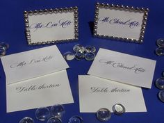 Blue ink for place cards, sliver ink for escort cards...At the same wedding!  #calligraphy #customcalligraphy   www.monksofage.com