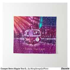 Camper Retro Hippie You Got This Inspirational Tapestry Hippie Lifestyle, Inspirational Phrases, Vintage Trailers, Hippie Bohemian, Blue Walls, Tapestry Wall Hanging, Shower Invitations, Vivid Colors, Hand Sewing