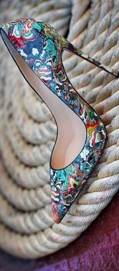 Charming, Leather and Colorful Patterned Heeled Stiletto Shoes for Stylish Ladies