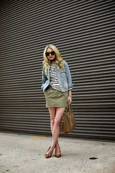 Atlantic-Pacific: mix it up: Denim jacket, green mini skirt, striped tee, leopard heels