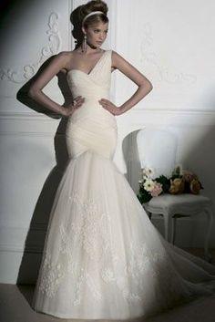 Mermaid Sweetheart Chapel Chiffon /Organza Wedding Dress, Mermaid Wedding Dresses, Top 100 Wedding Dress Styles-CharmingGowns.com