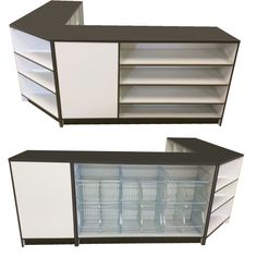 Retail display counters / a combination of three separate shop counters. Shelving display / mesh basket display / open shelves corner counter. A striking combination of black and white. Choose your preferred counter colour from our range. Quality at affordable prices.  #meshbasket #retaildisplay #shopfittings #storedisplay #retailcounter