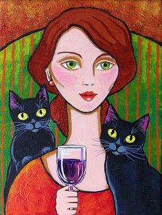 Two Things I Love ~ Wine and Black Cats ~ by Lisa Monica Nelson