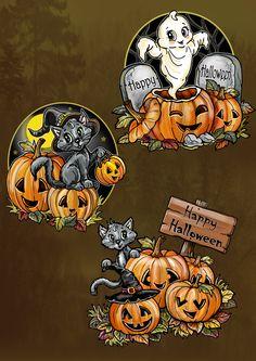 She's hugging her baby! Halloween Wood Crafts, Halloween Rocks, Fete Halloween, Halloween Painting, Halloween Prints, Halloween Pictures, Halloween Birthday, Halloween Season, Diy Halloween Decorations