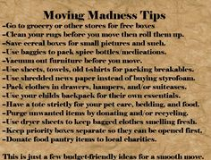 Budget friendly moving tips.