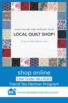 Have you checked out shop.trendtexfabrics.com yet? TrendTex carries some of your favourite brands including Moda, Hoffman California, RJR, Benartex, Lewis & Irene, Stof and Michael Miller! When you make a purchase at shop.trendtexfabrics.com and enter our code BLU020 we receive a portion of each sale! They have thousands of fabrics available online! Happy quilting! #quiltinginCanada #fabriclove #longarmquilting #yegquilter #canadianquiltshop #sewcanadian #onlinequiltshop #onlinequiltstore