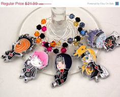Naruto inspired geeky wine glass charms set of 5 by TheWarpZoneStore, $18.69