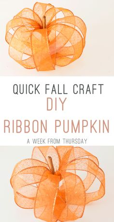 Quick Fall Crafts Idea: DIY Ribbon Pumpkin for Elegant Autumn Decor. Diy Ribbon, Ribbon Crafts, Fall Crafts For Kids, Fun Crafts, Deco Mesh Crafts, Pillos, Thanksgiving Projects, Diy Pumpkin, Homemade Crafts