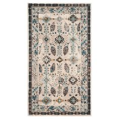 Add some gorgeous, luxe style to your home with the Benicia Area Rug - Creme/Turquoise. This polypropylene rug has a beautiful ivory background that showcases a blue, brown and black floral pattern with a geometric/floral border. Designed for durability, this low pile rug has no backing and a sturdy, tightly woven construction with tufts at either end for added style. Available in various sizes so it can be customized to various spaces in your house.