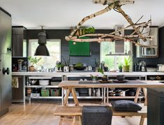 desire to inspire - desiretoinspire.net I love that wood light fixture and the natural table...