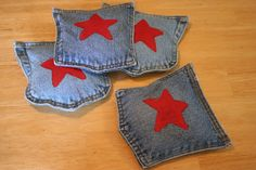 Easiest bean bags ever. (Especially since I am making a denim rag quilt.  Now I have a purpose for all those pockets!)