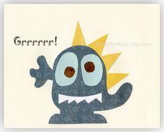 Baby room wall art, Nursery Art Decor, Kids Print, monsters...Grrrrr..blue monster..baby boy. $17.00, via Etsy.