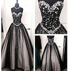 New Black Strapless Sweetheart Rhinestones Ball Gown Formal Prom Dresses. The prom  dress is fully lined, 4 bones in the bodice, chest pad in the bust, lace up back or zipper back are all available, total 126 colors are available. This ?dress could be custom made, there are no extra cost to do custom size and color. Description of ?dress 1, Material:rhinestones, tulle, elastic silk like stain. 2.Color: there are 126 colors are available, please contact us for more colors, please ask for…