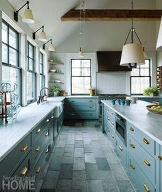 I love the open look of a kitchen without upper cabinets. Would you consider opting out of upper cabinets in exchange for all these windows? Sage Kitchen, Green Kitchen, New Kitchen, Kitchen Dining, Kitchen Tile, Slate Floor Kitchen, Country Kitchen, Kitchen Interior, Types Of Kitchen Flooring