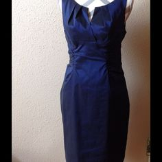 Adriana Papell cocktail dress Great cocktail dress dark blue stretchy shinny material worn once Adrianna Papell Dresses Midi