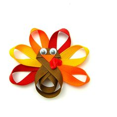 Turkey Hair Clip, Turkey Clip, Turkey Hair Bow, Turkey Ribbon Sculpture Clippie, Autumn Colors Baby Toddler Girl