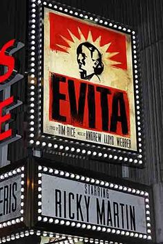 EVITA on Broadway...Ricky Martin +Broadway?..yea, I enjoy that