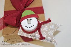 Holiday Extravaganza Project 3 PLUS My Paper Pumpkin Project :: Confessions of a Stamping AddictLorri Heiling Christmas Gift Tag Snowman Tea Light Stampin Up