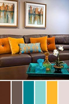 Living Room Color Schemes to Make Your Room Cozy . √ 28 Living Room Color Schemes to Make Your Room Cozy . 25 Gorgeous Living Room Color Schemes to Make Your Room Cozy Brown Leather Couch Living Room, Living Room Decor Brown Couch, Teal Living Rooms, Living Room Decor Colors, Colourful Living Room, Living Room Color Schemes, Blue And Brown Living Room, Living Room Ideas For Brown Furniture, Living Room Color Combination