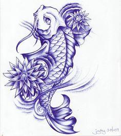 Beautiful_violet-color_koi_fish_and_lotus_flowers_tattoo_design.jpg (800×907)