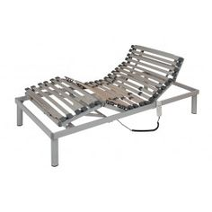 Cama Articulada Arco. Bastidor y articulaciones fabricados con acero reforzado y terminación epoxi-poliéster color gris plata metalizado. Cinco planos de articulación y función antiatrapamiento.