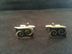 Gold Art Nouveau Cufflinks, Vintage Gold CUfflinks, Scroll Cufflinks, Small Cufflinks, Carved Cufflinks by GloryDayz on Etsy