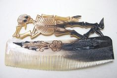 Handmade cow horn combs by Sr. Prudencio, Mexico - available on our Etsy, NomadCollections! https://www.etsy.com/listing/219179069/decorative-mexican-fish-horn-comb?ref=listing-shop-header-1