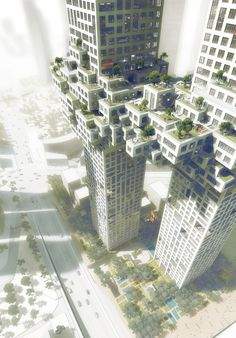 ...the towers are linked  at the 27th floor with a volume spanning ten floors, evoking the image of a pixelated cloud.