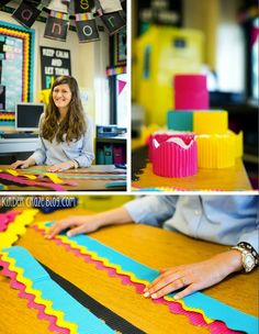 """Do you love the look of layered borders on a classroom bulletin board but are stumped about how to get them just right? Did you try the """"staple and tuck"""" method, only to end up with creases all ove. Bulletin Board Borders, Classroom Bulletin Boards, Classroom Setup, Classroom Design, Classroom Displays, Kindergarten Classroom, Classroom Setting, School Classroom, Classroom Organization"""