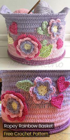 Ropey Rainbow Basket Free Crochet Pattern Crochet Crafts