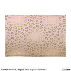 Pink Ombre Gold Leopard Print Cloth Place Mat