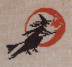 Completed Cross Stitch  Flying Witch and by jackwabbitprimitives