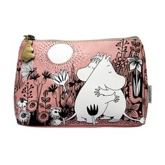 Moomin makeup bag is both adorable and stylish option for every Moomin fan! Features an illustration of Moomin and Snorkmaiden hugging and cuddling in the meadow. Striking black and white illustration on soft pink PVC finished with an engraved brushed antiqued brass shaped moomin zip pull. Inside: Contrasting olive green lining with plenty...