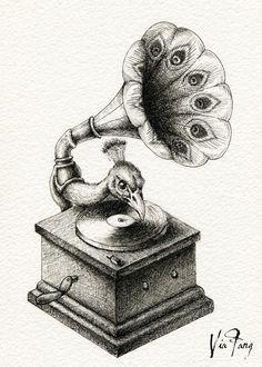 Now, DJ Peacock will play us a song ♪ Copyright © 2015 [Peacock & Mad Rose]. All Rights Reserved. Victorian Illustration, Illustration Art, Art Bizarre, Metamorphosis Art, Surrealism Drawing, Dark Art Drawings, Arte Sketchbook, Art Plastique, Surreal Art