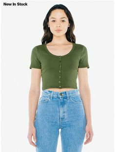 2x2 Button Front Short Sleeve Crop Top