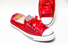 8424de5debcf Tiny Sequin - Starlight Red Sparkly Canvas Shoreline Converse® Slip On  Sneakers Shoes with Satin Ribbon Laces
