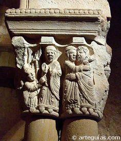 Capitel romanico de la Iglesia de San Juan de Duero,Soria,España