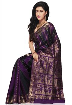 Purple and Dark Blue Pure Silk Bengal Handloom Sournachuri Saree Online Shopping: SHC50