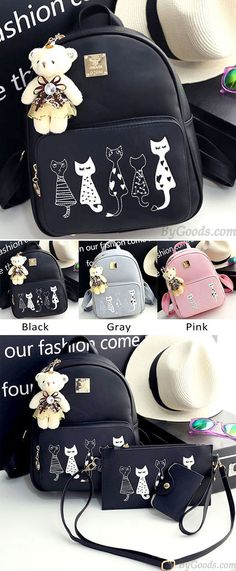 Which color do you like? Cute Cartoon Cats Printing PU Backpack Gift Shoulder Bag Leisure Kitten School Zippered Backpack #cute #kitten #cat #kitty #cartoon #animal #school #backpack #bag #college #rucksack #fashion #student #girl