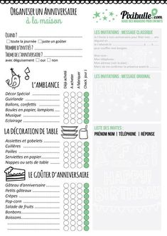 Best Ideas For Organizing An Anniversary - Cartes Cadeaux De Mariage - Anniversaire Organization Bullet Journal, Agenda Planner, Pajama Party, Party Printables, Birthday Invitations, Birthday Wishes, Bujo, Organiser, How To Plan