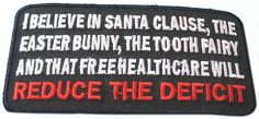 "Amazon.com: [Single Count] Custom and Unique (4"" x 2"" Inch) Rectangle ""Political"" Adult Patriot I Believe In Santa Claus Reduce The Deficit Design Iron On Embroidered Applique Patch {Black, White & Red Colors}"