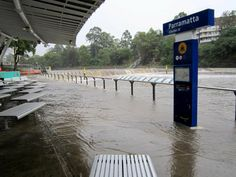 Water pours into the Parramatta River at the Parramatta Ferry Wharf, New South Wales.  Taken by Jon Fowell  24/03/2014