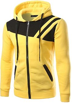 jeansian Men's Fashion Hit Color Stitching Zipper Hooded Sweater Tops Yellow M Cool Hoodies, Colorful Hoodies, Mens Fashion, Fashion Outfits, Mens Clothing Styles, Men's Clothing, Hooded Sweater, Mens Sweatshirts, Menswear